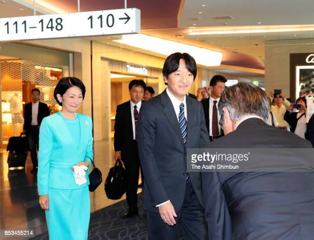 Prince Akishino and Princess Kiko of Akishino are seen on departure at Haneda International Airport on September 25 2017 in Tokyo Japan The prince...