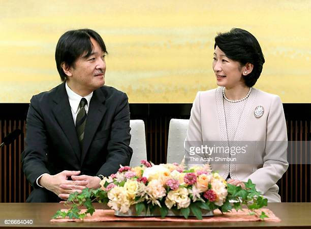Prince Akishino and Princess Kiko of Akishino attend a press conference ahead of Prince's 51st birthday at his home on November 22 2016 in Tokyo Japan