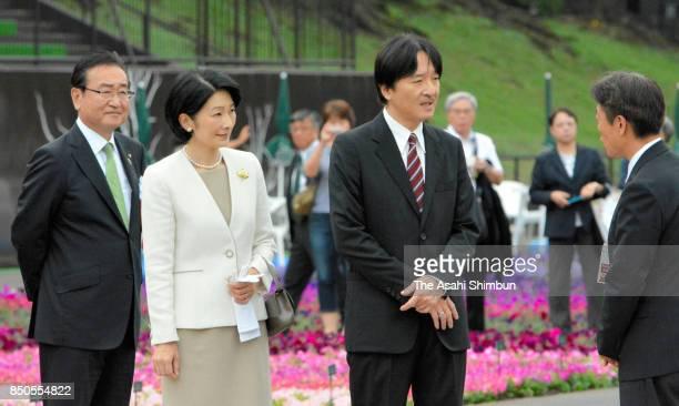 Prince Akishino and Princess Kiko of Akishino attend the 34th National Urban Greenery Hachioji Fair at Fuji Forest Park on September 20 2017 in...
