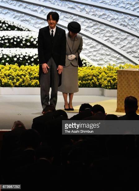 Prince Akishino and Princess Kiko of Akishino attend the memorial ceremony on the sixth anniversary of the Great East Japan Earthquake and following...