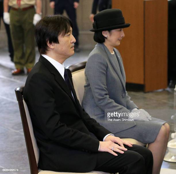 Prince Akishino and Princess Kiko of Akishino attend the memorial ceremony marking the 72nd anniversary of the Bombing of Tokyo at the memorial hall...