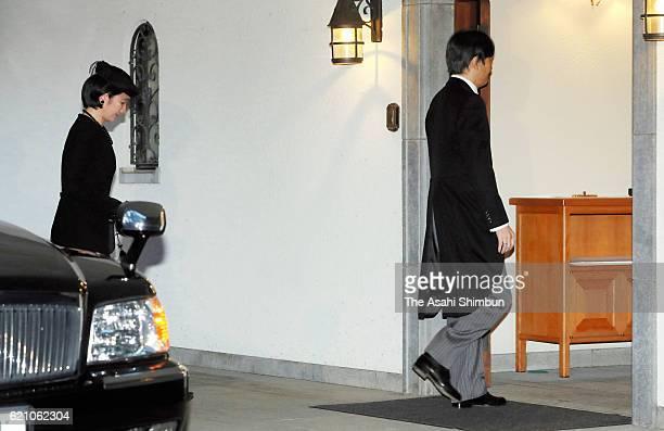 Prince Akishino and Princess Kiko of Akishino enter to attend the 'Reidai AnchinoGi' for late Prince Mikasa at the prince's residence on November 3...