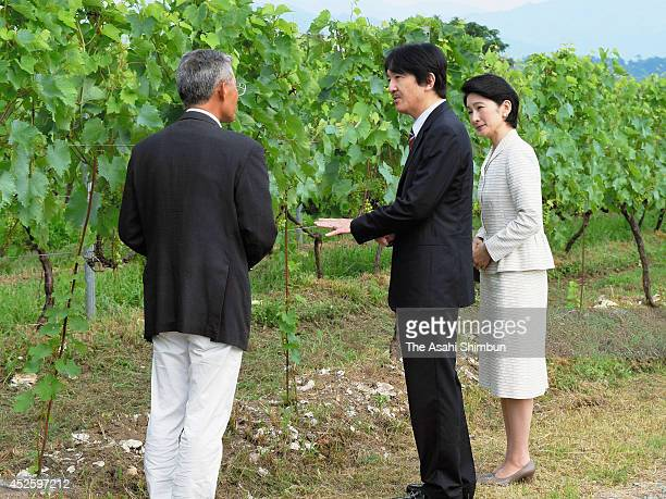 Prince Akishino and Princess Kiko of Akishino inspect a grapeyard on July 23 2014 in Miyazu Kyoto Japan