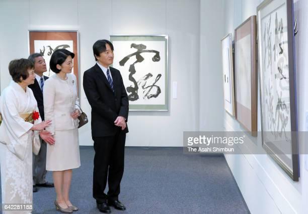 Prince Akishino and Princess Kiko of Akishino visit the '100 Female Calligraphers' exhibition at Nihombashi Takashimaya Department Store on February...