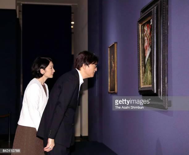Prince Akishino and Princess Kiko of Akishino visit the Giuseppe Arcimboldo exhibition at the National Museum of Western Art on September 4 2017 in...