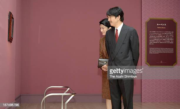 Prince Akishino and Princess Kiko of Akishino visit the 'Masterworks from the Collections of the Prince of Liechtenstein' at the National Art Center...