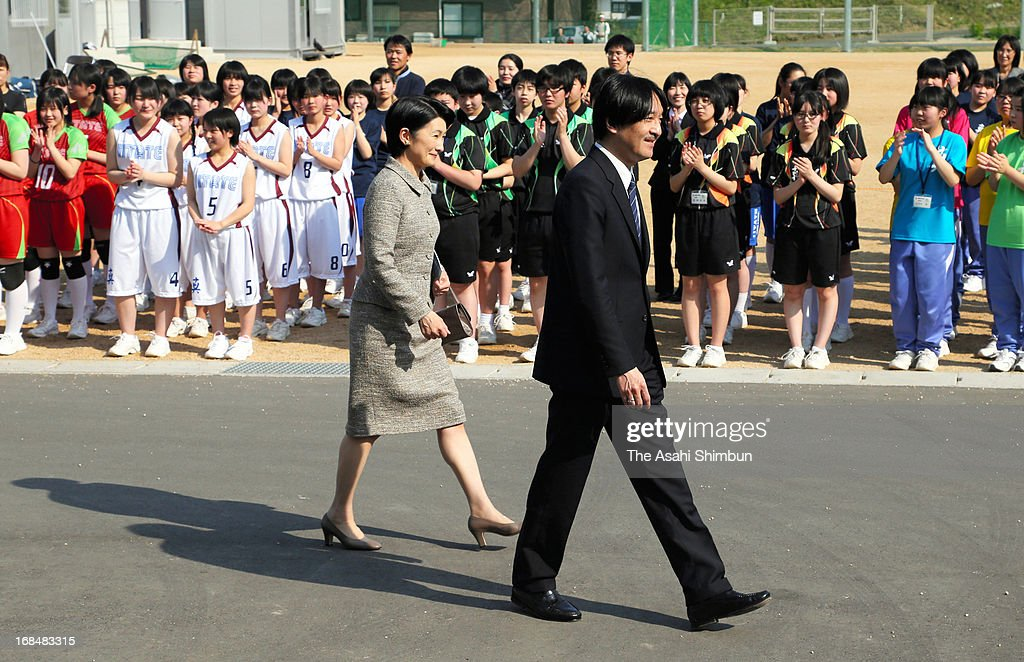 Prince Akishino and Princess Kiko of Akishino visit the temporary school of Iitate Junior High School during their visit to Fukushima prefecture on May 9, 2013 in Fukushima, Japan. The royal family encourage the students who have had to evacuate from their town.