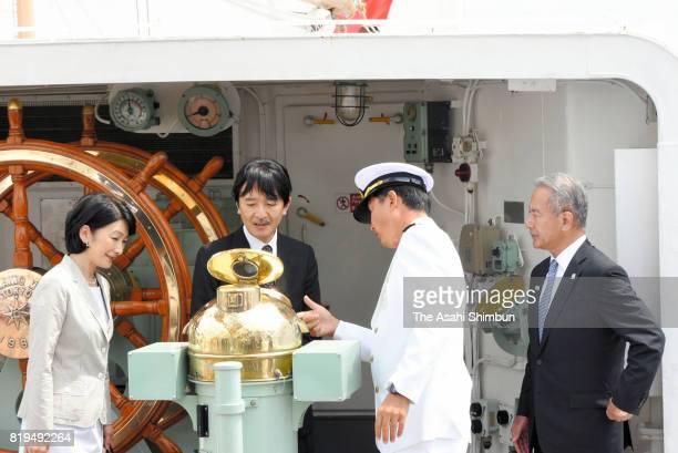 Prince Akishino and Princess Kiko of Akishino visit the training sailing ship Kaiwo Maru during the Marine Festa Kobe on July 18 at Port of Kobe on...
