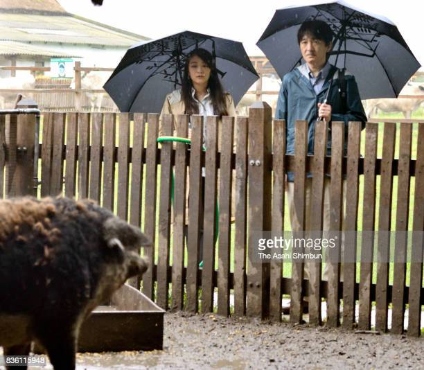 Prince Akishino and Princess Mako of Akishino are seen at a farm on August 20 2017 in Bugac Hungary Princess Mako elder daughter of Prince Akishino...