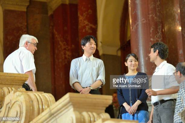 Prince Akishino and Princess Mako of Akishino are seen at the Budapest Ethnographic Museum on August 19 2017 in Budapest Hungary