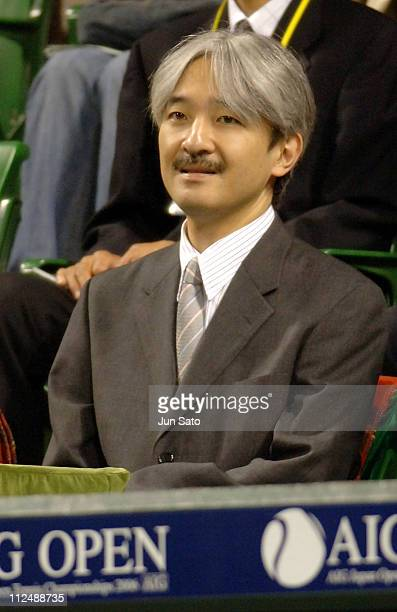 Prince Akishino of Japan watches over a game during the AIG Japan Open Tennis Championship 2006 on October 2 2006 in Tokyo