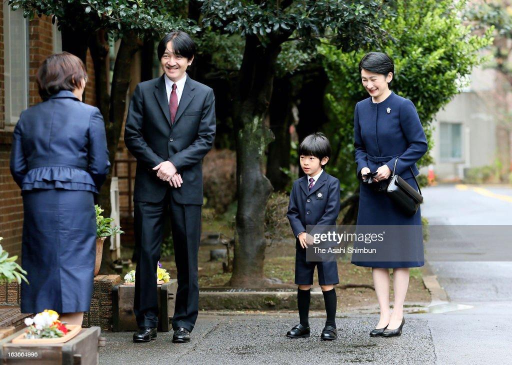 Prince Akishino, Prince Hisahito and Princess Kiko of Akishino arrive at Ochanomizu University Kindergarten on March 14, 2013 in Tokyo, Japan. Prince Hisahito graduates the kindergarten.
