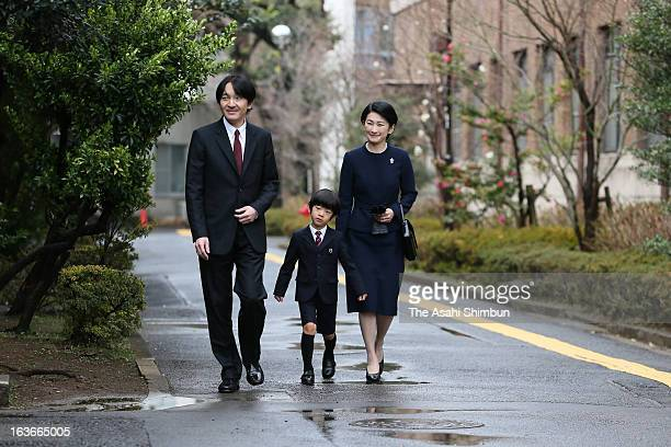 Prince Akishino Prince Hisahito and Princess Kiko of Akishino arrive at Ochanomizu University Kindergarten on March 14 2013 in Tokyo Japan Prince...