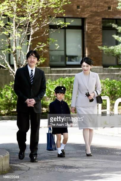 Prince Akishino Prince Hisahito and Princess Kiko of Akishino arrive at Ochanomizu University Elementary School to attend Prince Hisahito's entering...