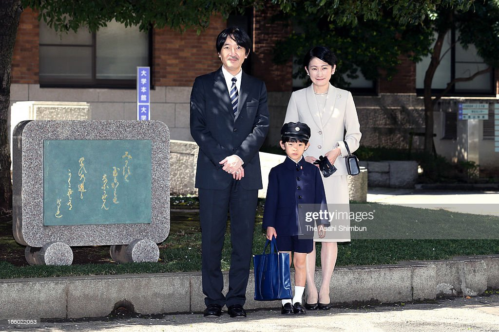 Prince Akishino, <a gi-track='captionPersonalityLinkClicked' href=/galleries/search?phrase=Prince+Hisahito&family=editorial&specificpeople=3197577 ng-click='$event.stopPropagation()'>Prince Hisahito</a> and Princess Kiko of Akishino pose for photographs at Ochanomizu University Elementary School to attend <a gi-track='captionPersonalityLinkClicked' href=/galleries/search?phrase=Prince+Hisahito&family=editorial&specificpeople=3197577 ng-click='$event.stopPropagation()'>Prince Hisahito</a>'s entering ceremony on April 7, 2013 in Tokyo, Japan.