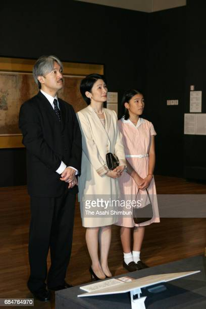 Prince Akishino Princess Kiko and Princess Mako visit the 'Cultural Crossings Tang Art and the Japanese Envoys' exhibition at the Tokyo National...