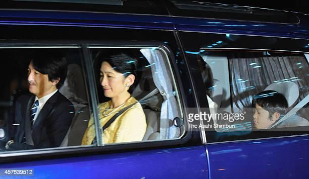 Prince Akishino Princess Kiko of Akishino and Prince Hisahito are seen on arrival at the Imperial Palace to celebrate Empress Michiko's 80th birthday...
