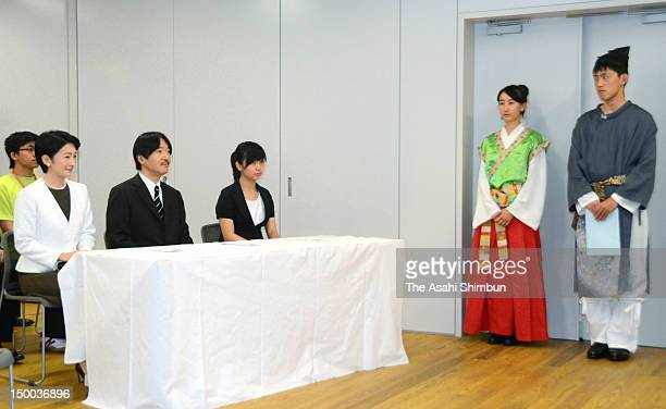 Prince Akishino Princess Kiko of Akishino and Princess Mako of Akishino attends the 36th AllJapan High School Cultural Festival on August 7 2012 in...