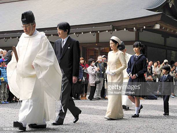 Prince Akishino Princess Kiko of Akishino Princess Kako of Akishino and Prince Hisahito visit Ise Shrine on March 25 2013 in Ise Mie Japan
