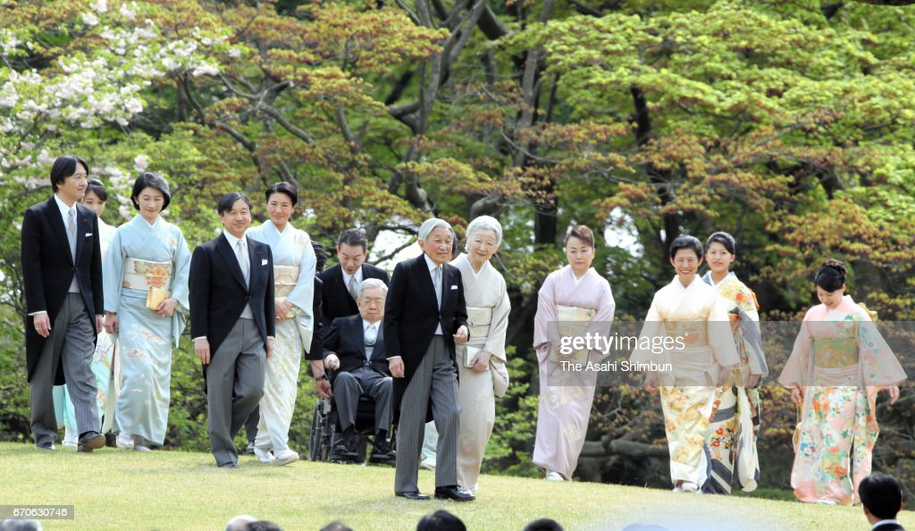 Prince Akishino, Princess Mako, Princess Kiko of Akishino, Crown Prince Naruhito, Crown Princess Masako, Prince Hitachi (on wheelchair), Emperor Akihito, Empress Michiko, Princess Nobuko of Mikasa, Princess Hisako, Princess Tsuguko and Princess Ayako of Takamado attend the Spring Garden Party at Akasaka Imperial Gardens on April 20, 2017 in Tokyo, Japan.