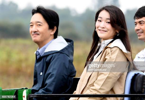 Prince Akishino the 2nd son of Japan's emperor Akihito and his 1st daughter Princess Mako are seen on a local horsecarriage at Bugac Puszta about 100...