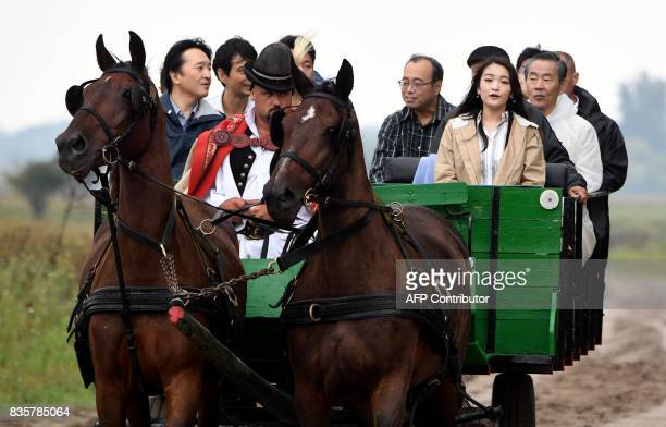 Prince Akishino the 2nd son of Japan's emperor Akihito is transported by a local horsecarriage with his 1st daughter Princess Mako at Bugac Puszta...