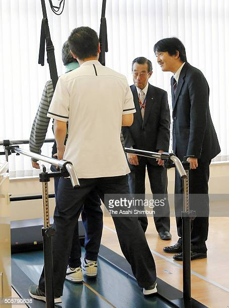 Prince Akishino visits a rehabilitation hospital during his visit to Aichi prefecture on January 20 2016 in Nagoya Aichi Japan