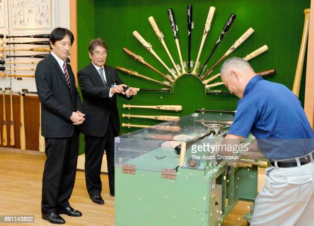 Prince Akishino visits Mizuno Technics on May 31 2017 in Yoro Gifu Japan