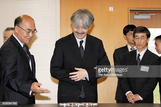 Prince Akishino visits the Forest Tree Breeding Center during his visit to Ibaraki on October 6 2006 in Hitachi Ibaraki Japan