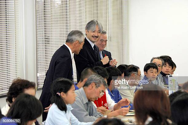Prince Akishino visits the Kitaibaraki Lifelong Study Center during his visit to Ibaraki on October 6 2006 in Hitachi Ibaraki Japan