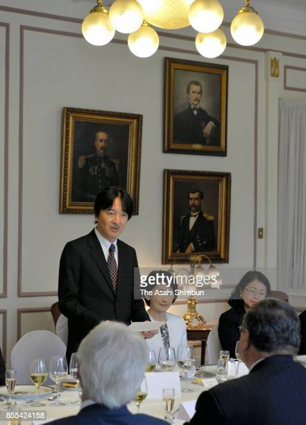 Prince Akisshino and Princess Kiko of Akishino attend a luncheon with Valparaiso Governor on September 28 2017 in Valparaiso Chile