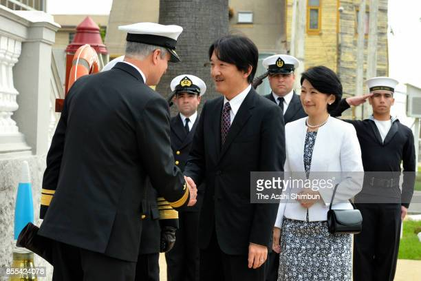 Prince Akisshino and Princess Kiko of Akishino visit a tsunami observation facility of the Chilean navy on September 28 2017 in Valparaiso Chile