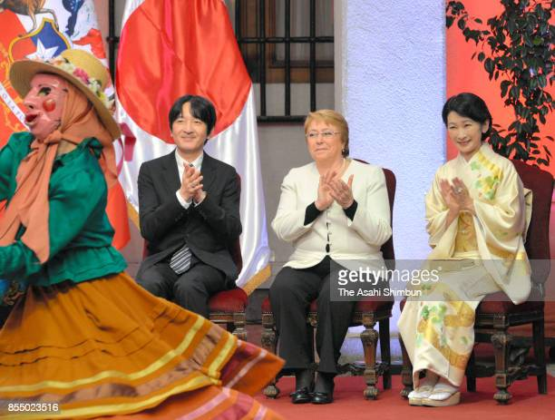 Prince Akisshino Princess Kiko of Akishino and Chilean President Michelle Bachelet attend the ceremony marking the 120th anniversary of deplomatic...