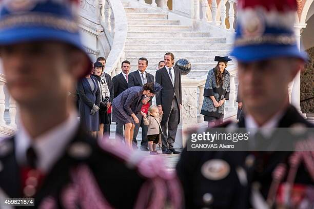 Prince Albert and Princess Charlene de Monaco 8 months pregnant celebrate the national day in Monaco Princess Caroline with her grandson Sacha...
