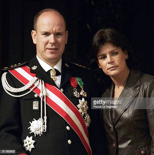 Prince Albert and Princess Stephanie at the balcony as part of the National Day Celebrations on November 19 2004 in Monte Carlo Monaco