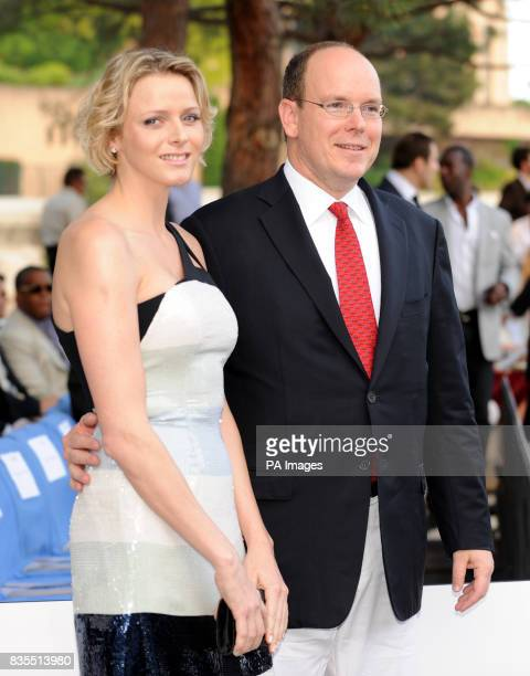 Prince Albert II and girlfriend Charlene Wittstock during the Fashion Show at The Amber Lounge Le Meridien Beach Plaza Hotel Monaco