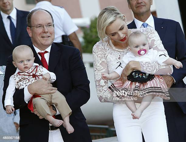Prince Albert II and his wife Princess Charlene of Monaco arrive with their twins Prince Jacques and Princess Gabriella to take part in the...