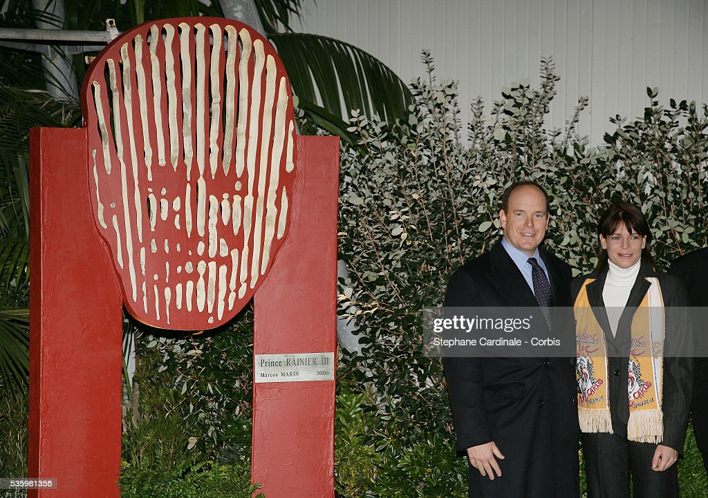 HRH Prince Albert II and HRH Princess Stephanie of Monaco stand beside the sculpture of Prince Rainier III, created by artist Marco Marin.