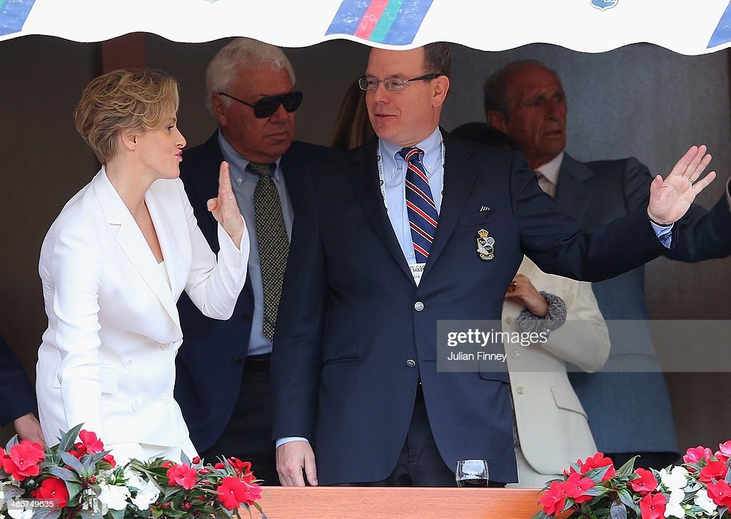 Prince Albert II and Princess <a gi-track='captionPersonalityLinkClicked' href=/galleries/search?phrase=Charlene+-+Princess+of+Monaco&family=editorial&specificpeople=726115 ng-click='$event.stopPropagation()'>Charlene</a> arrive to watch the final between Roger Federer of Switzerland and Stanislas Wawrinka of Switzerland during day eight of the ATP Monte Carlo Rolex Masters Tennis at Monte-Carlo Sporting Club on April 20, 2014 in Monte-Carlo, Monaco.