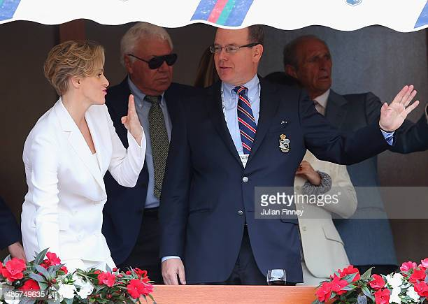 Prince Albert II and Princess Charlene arrive to watch the final between Roger Federer of Switzerland and Stanislas Wawrinka of Switzerland during...