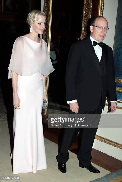 Prince Albert II and Princess Charlene of Monaco arrive for a dinner at Buckingham Palace London hosted by the Prince of Wales and the Duchess of...