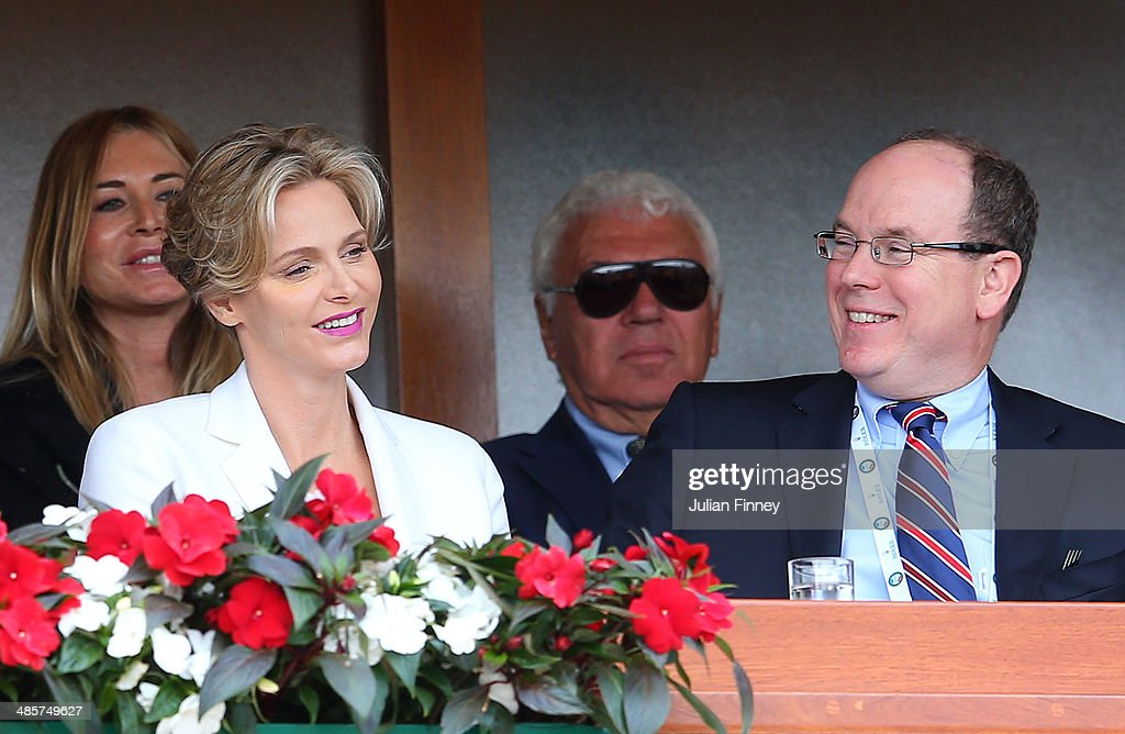 Prince Albert II and Princess <a gi-track='captionPersonalityLinkClicked' href=/galleries/search?phrase=Charlene+-+Princess+of+Monaco&family=editorial&specificpeople=726115 ng-click='$event.stopPropagation()'>Charlene</a> watch the final between Roger Federer of Switzerland and Stanislas Wawrinka of Switzerland during day eight of the ATP Monte Carlo Rolex Masters Tennis at Monte-Carlo Sporting Club on April 20, 2014 in Monte-Carlo, Monaco.