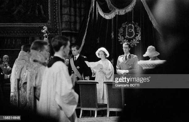 Prince Albert II King Baudouin and Queen Fabiola attending mass during Belgium's National Day on July 21 1961