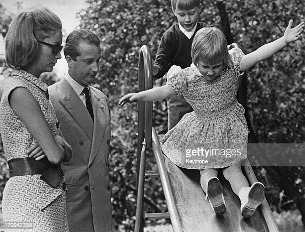 Prince Albert II of Belgium and Princess Paola of Belgium watch two of their three children Princess Astrid of Belgium and Prince Philippe of Belgium...