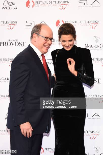 Prince albert II of Moanco and Stana Katic attend the 57th Monte Carlo TV Festival Opening Ceremony on June 16 2017 in MonteCarlo Monaco