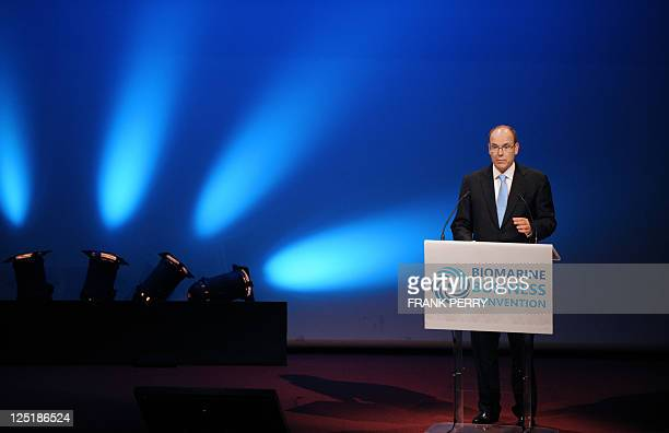 Prince Albert II of Moanco delivers a speech on September 9 2011 in Nantes during the Biomarine Business Convention on Marine Bioresources from...