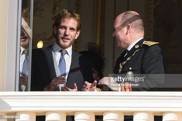 Prince Albert II of Monaco and Andrea Casiraghi attend the National Day Parade as part of Monaco National Day Celebrations at Monaco Palace on...