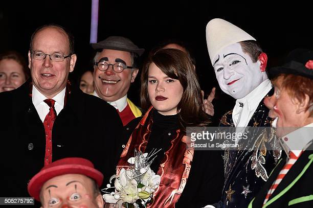 Prince Albert II of Monaco and Camille Gottlieb attend the 40th International Circus Festival on January 16 2016 in Monaco Monaco