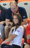 Prince Albert II of Monaco and Catherine Duchess of Cambridge watch Synchronised Swimming on Day 13 of the London 2012 Olympic Games at the Aquatics...