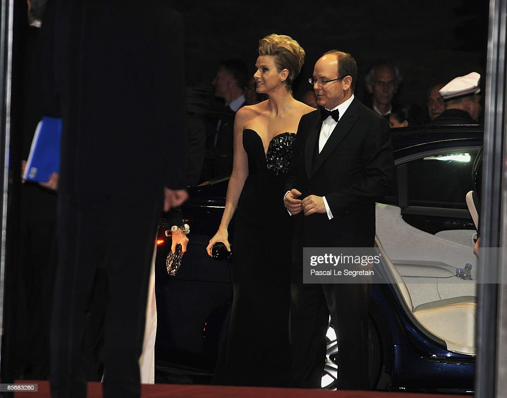Prince Albert II of Monaco and Charlene Wittstock arrive at the 2009 Monte Carlo Rock' N Rose Ball held at The Sporting Monte Carlo on March 28, 2009 in Monte Carlo, Monaco.